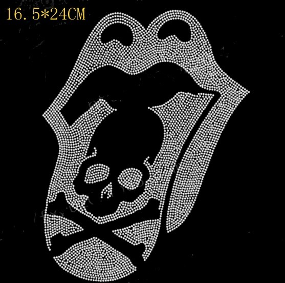 Free Shipping Shiny skull hot fix rhinestone Heat transfer design rhinestone  motif Embellishment for garment 2a2cabfa3e80