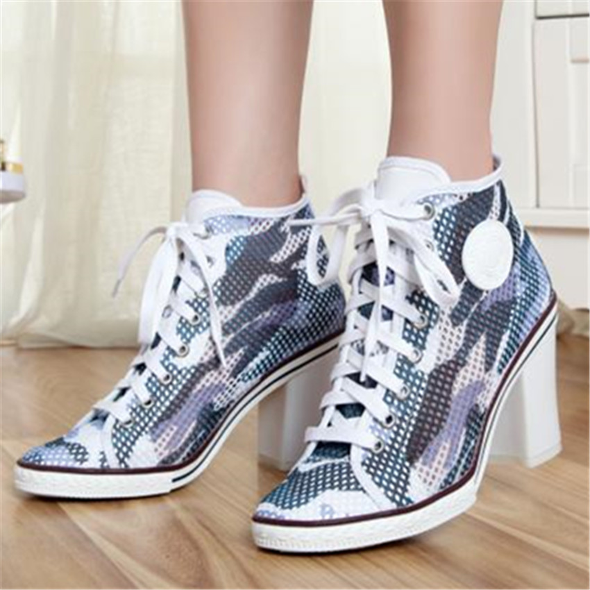 Breathable Women Summer Thick High Heels Lace Up Round Toe Fashion Casual Shoes Women Pumps Ankle