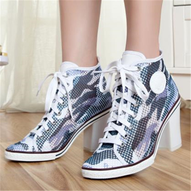 Breathable Women Summer Thick High Heels Lace Up Round Toe Fashion Casual Shoes Women Pumps Ankle Boots Zapatos Mujer Size 34-40