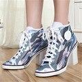 Transpirable Verano de Las Mujeres Grueso Tacones Altos Atan Para Arriba Del Dedo Del Pie Redondo moda Casual Zapatos de Las Mujeres Bombea los Cargadores Del Tobillo Zapatos de Mujer Tamaño 34-40