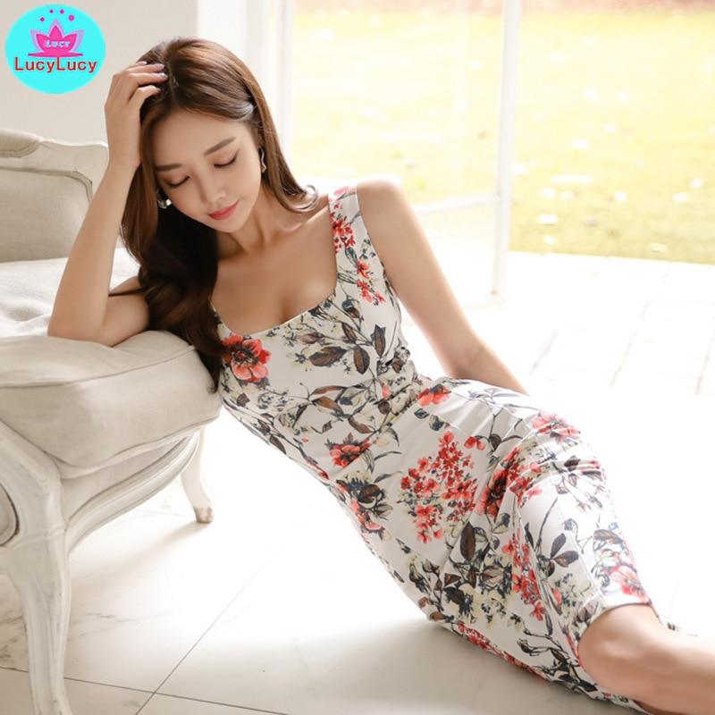 2019 new Korean version of the ladies temperament package hip print fashion sleeveless slim dress female Knee Length V Neck in Dresses from Women 39 s Clothing