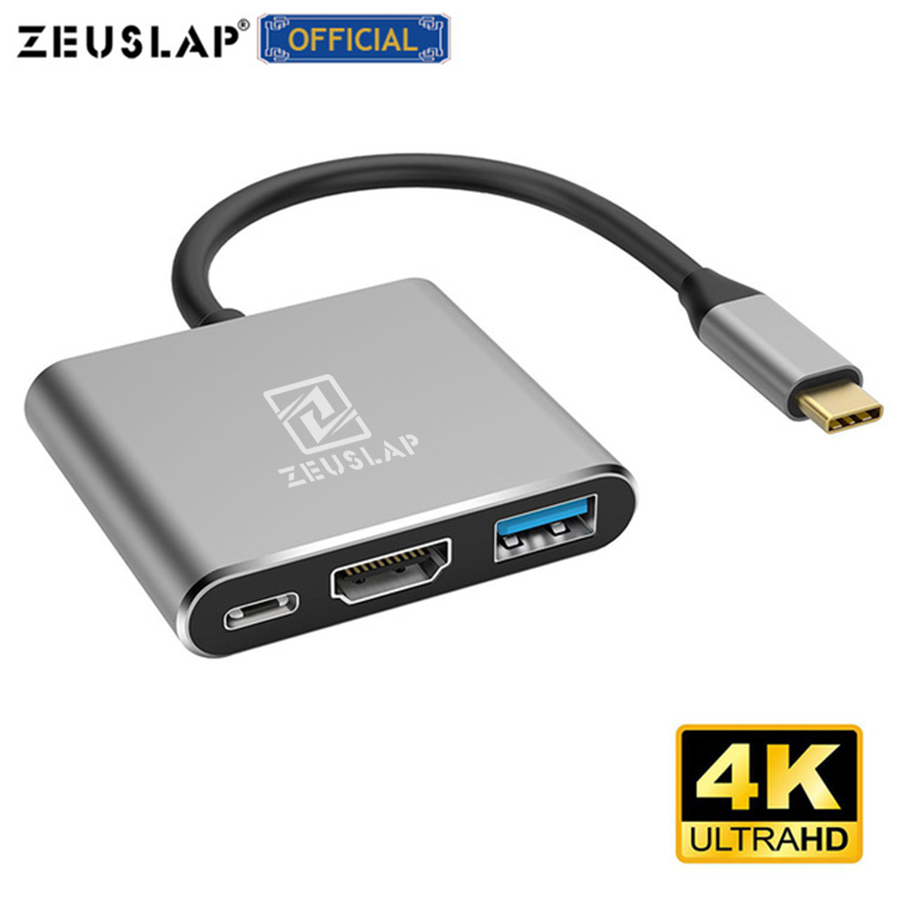 ZEUSLAP TYPE C HUB TO HDMI USB 3.0 TYPE C Adapter For Macbook Pro/Air Thunderbolt 3 USB Type C Hub To HDMI 4K USB 3.0 Port USB-C