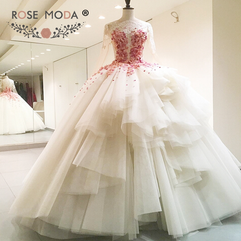 Hermosa Vestido De Novia De Flores De Color Rosa Ideas Ornamento ...