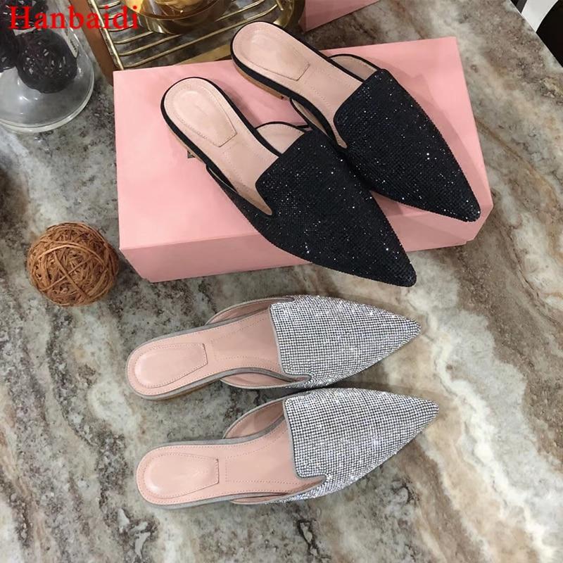 Hanbaidi Luxury Rhinestone Spring/Summer Slippers Runway Slip On Pointed Toe Causal Shoes Fashion Flats Lady Retro Muller Shoes