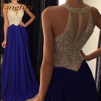 Royal Blue Evening Dresses Long Party A Line Pearls Chiffon Formal Evening Prom Party Gown Wear robe de soiree longue