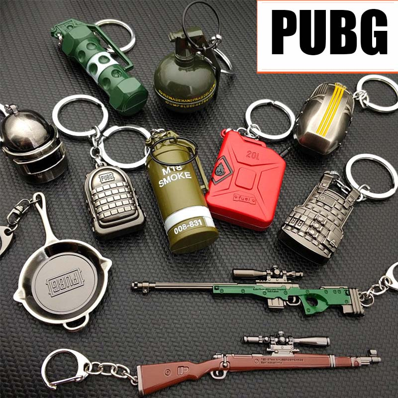 PLAYERUNKNOWN'S BATTLEGROUNDS Cosplay Costume Keychain Helmet Backpack Pan Metal Model Key Chain PUBG
