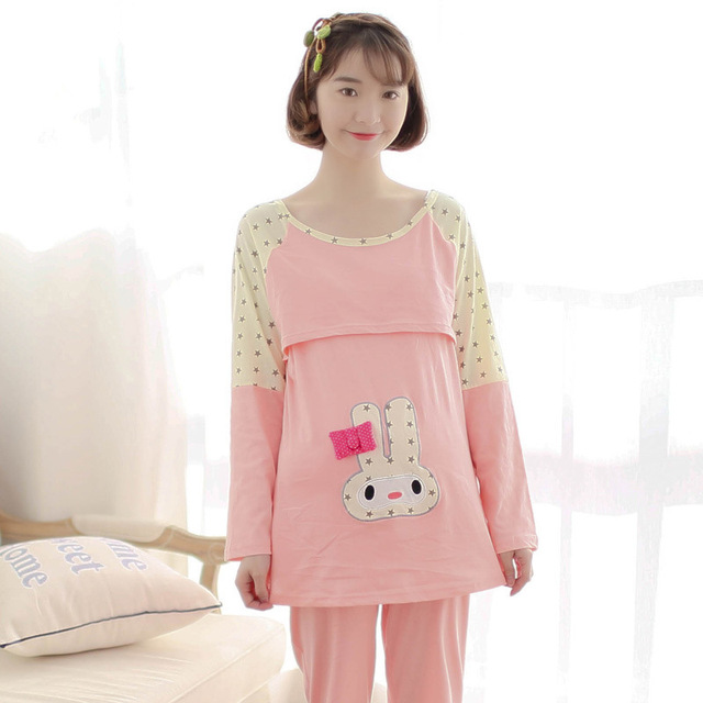 9cb608f021b57 Maternity Cute Nursing Pajamas Sets Breastfeeding Clothes Maternity Plus  Size Hospital Sleepwear for Pregnant Women Nursing Gown