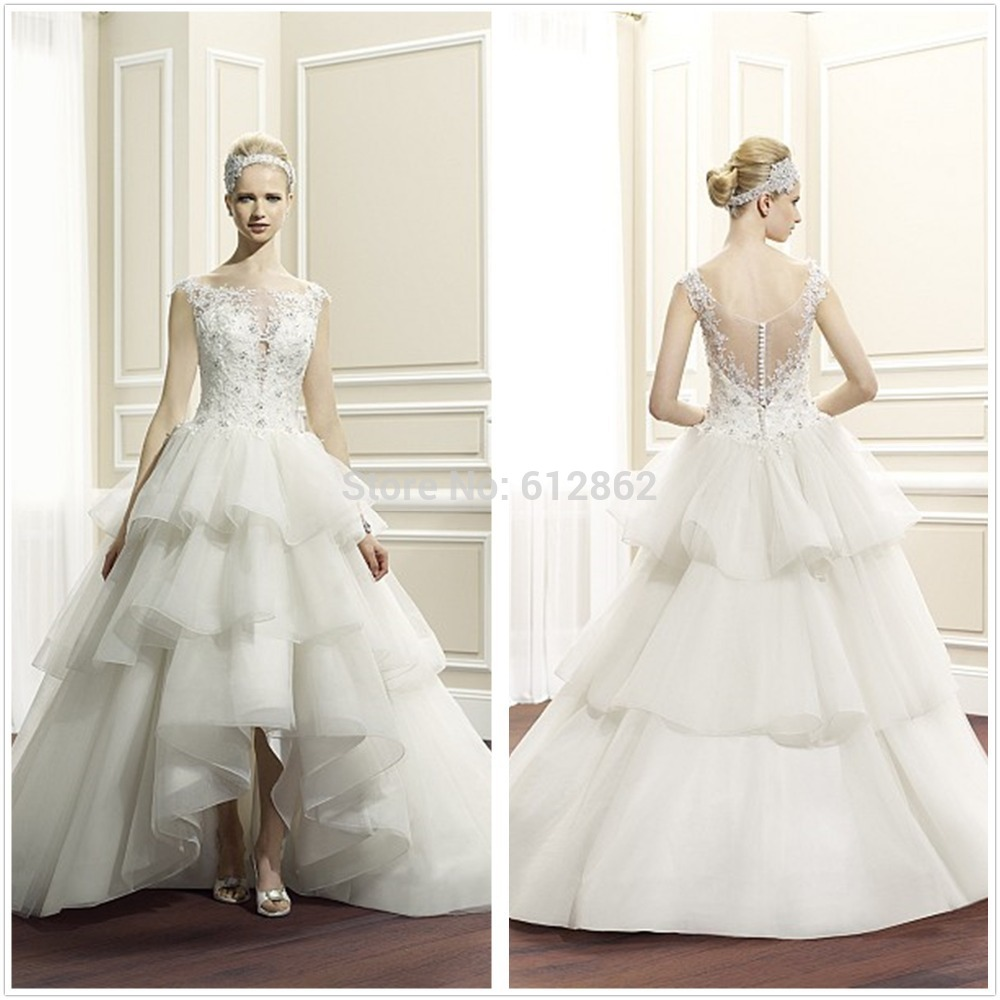 Beaded Lace Bodice Organza Ball Gown Front Short Long Back High Low ...