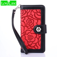 LOVECASE Case For IPhone 7 8 6S Plus Case Luxury Camellia Leather Flip Phone Bags For