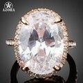 AZORA Ovo Em Forma de Rosa Banhado A Ouro Big Oval-cut 5ct Limpar Cubic Zirconia Ring Finger TR0127