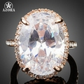 AZORA Rose Gold Plated Big Oval-cut 5ct Egg Shaped Clear Cubic Zirconia Finger Ring TR0127