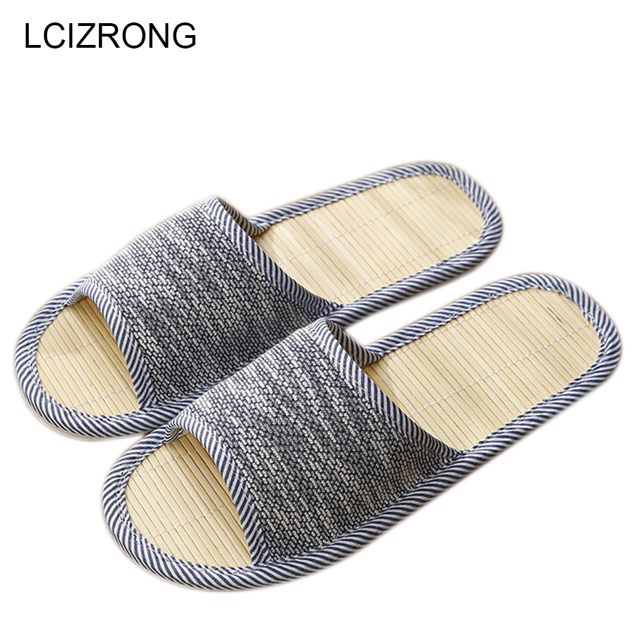 LCIZRONG Autumn Men Home Hemp Slippers Bamboo Insole Slides For Man Fashion Indoor Large Size Couple Floor Shoes House Slippers