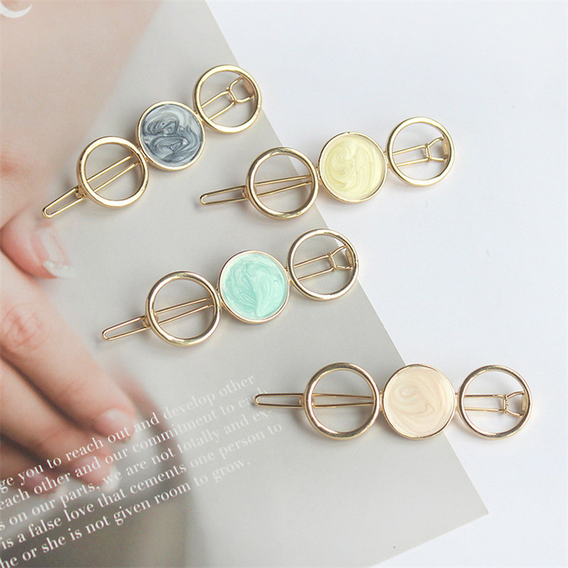 Korean Round Star Hair Clips For Women Vintage Geometric Alloy Hairband Elegant Girls