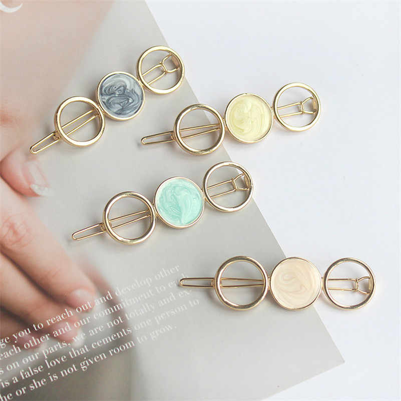 Korean Round Star Hair Clips for Women Vintage Geometric Alloy Hairband Elegant Girls Bang Hairgrip Barrette Hair Accessories