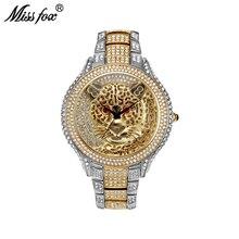 La srta. Fox para hombre relojes superior de la marca de lujo de tigre de los hombres reloj de cuarzo contratado Choque genuino de plata de oro reloj de pulsera para los hombres