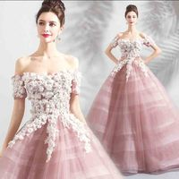 Pink Ball Gown Costume Off Shoulder Luxury Party Dress Large Size 5XL Evening Formal Dress For Women Wedding Plus Size 6XL 4XL