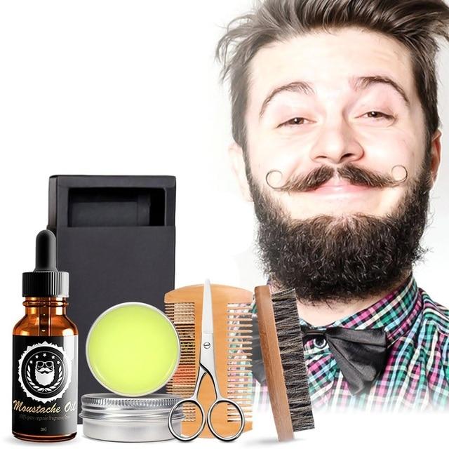 Men Beard Kits Grooming Beard Set 5pcs/set Beard Oil Moisturizing Wax Comb Essence Styling Scissors Hair Men Beard Sets 3