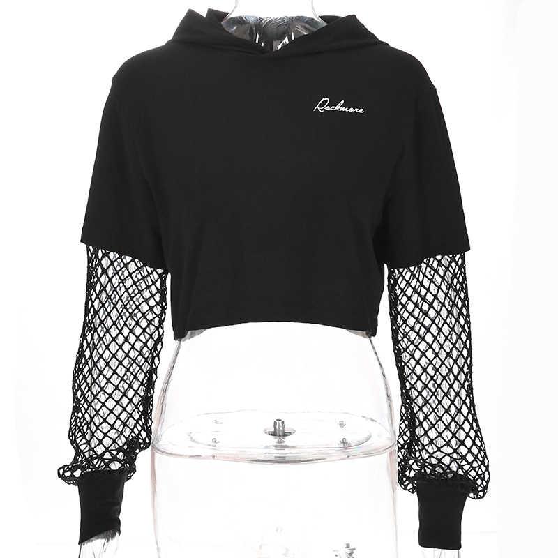 130db8be ... Sweetown Fishnet Long Sleeve Crop Top Tshirt Women Black Printed Plus  Size Clothing Casual Loose Korean ...