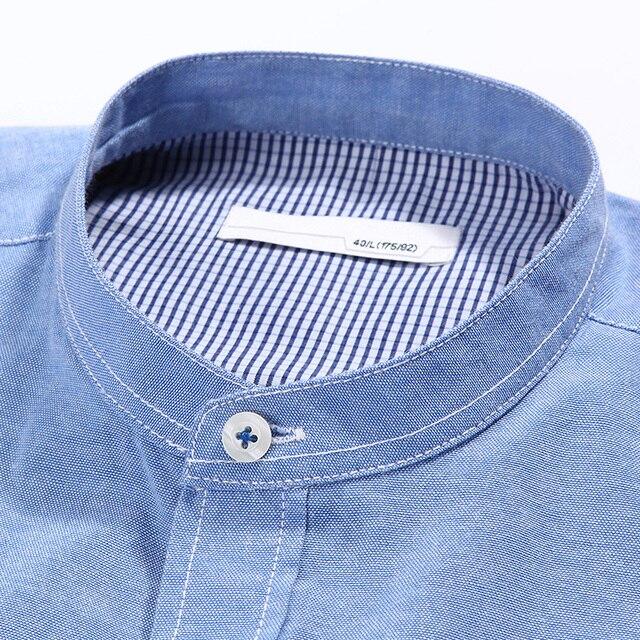 Slim fit solid color mandarin collar casual shirts 3