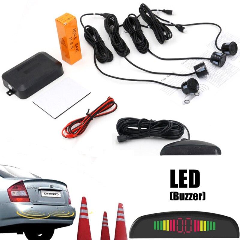 imágenes para Coche Parktronic Sensor de Aparcamiento LED Con 4 Sensores de Reserva Del Revés Del Coche Del Radar Del Estacionamiento Del Monitor Detector de Sistema Electrónico Automático