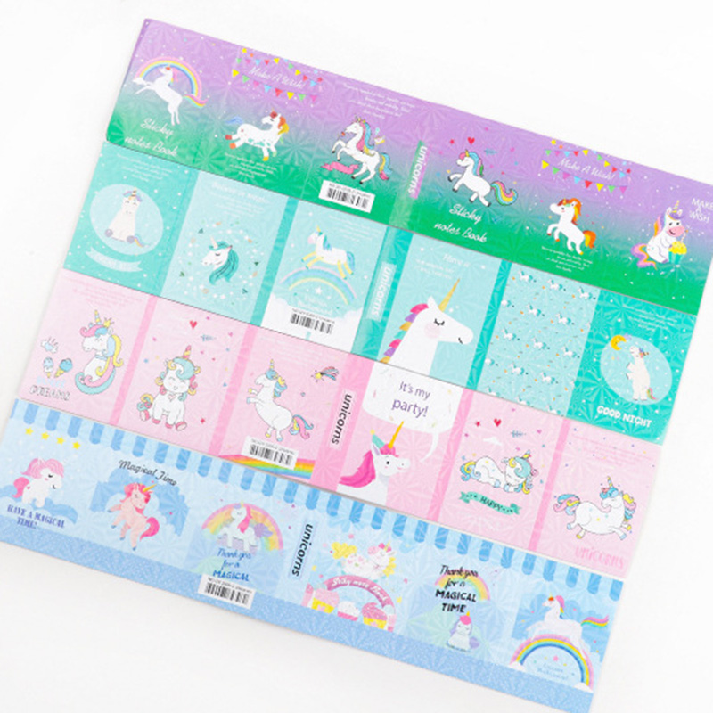 Cute Unicorn Memo Pad Kawaii 6 Folding Paper Sticky Notes Planner Stickers Writing Pads Office School Supplies Korean Stationery