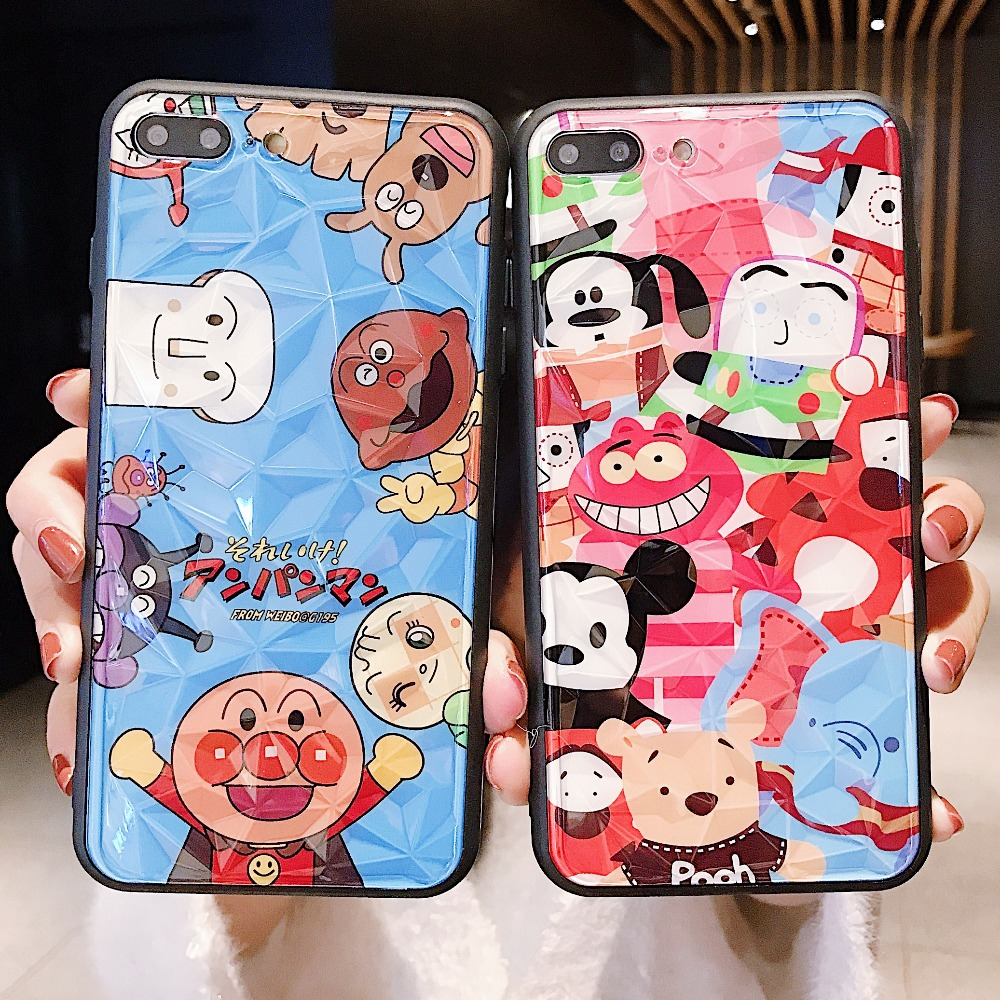 Cute Cartoon Anpanman Toy Story 3D rhombus Phone Case+Front Tempered Glass screen Film For iPhone XS XR XS MAX X 6 6S 7 8 Plus