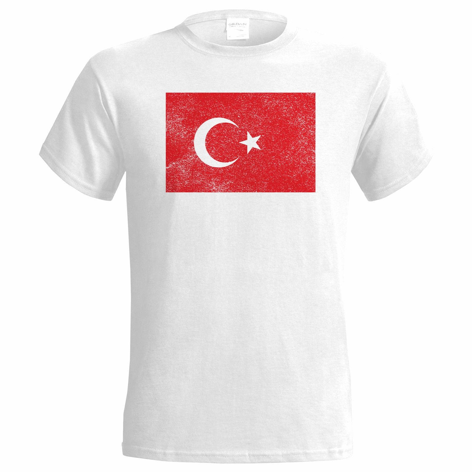 TURKEY DISTRESSED LOOK FLAG MENS T SHIRT  SPORTER NATIONAL Top Tee 100% Cotton Humor Men Crewneck Shirts Basic Models