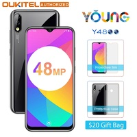 OUKITEL Y4800 6.319.5:9 FHD+ Android 9.0 Mobile Phone Octa Core 6G RAM 128G ROM Fingerprint 4000mAh 9V/2A Face ID Smartphone