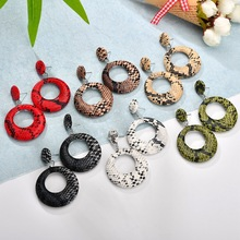 2019 New Fashion Big Round Drop Earrings for Women Punk Vintage Oversize Statement Snake Skin Party Jewelry Oorbellen