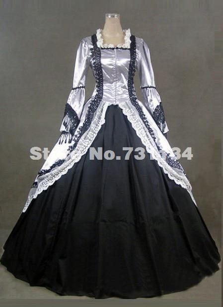 2015 Brand New Plateado Traje De época Victoriana Mujeres