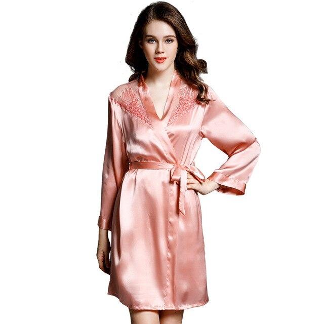 Sexy Lace Women Silk Nightdress Robe Sets Two-Piece 100% Mulberry Silk Sleeping Dress Long Sleeve Bathrobe Lounge Set P9933