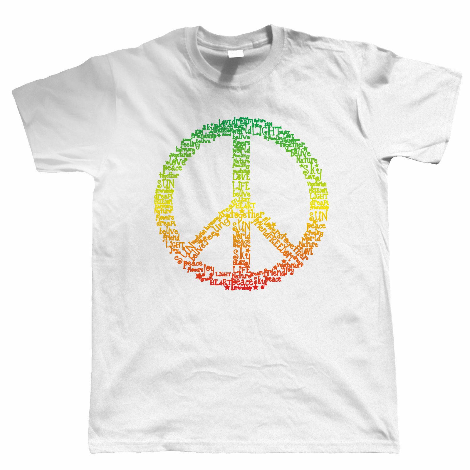 Retro 60/'s Jamaican hippie CND style T Shirt Rasta Reggae PEACE SIGN