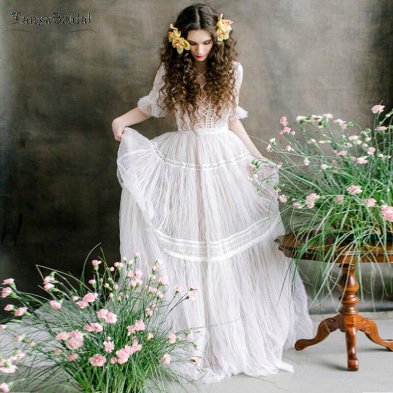 Robes De mariée De fée dramatique exquise bohème plage robes De mariée demi manches voir si l'espagne Vestido De Noivas DW103