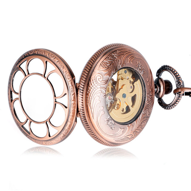 Perfect Gift Steampunk Fob Rose Copper Pocket Watch Luxury Flower Necklace Pendant Automatic Mechanical Unisex Free Shipping