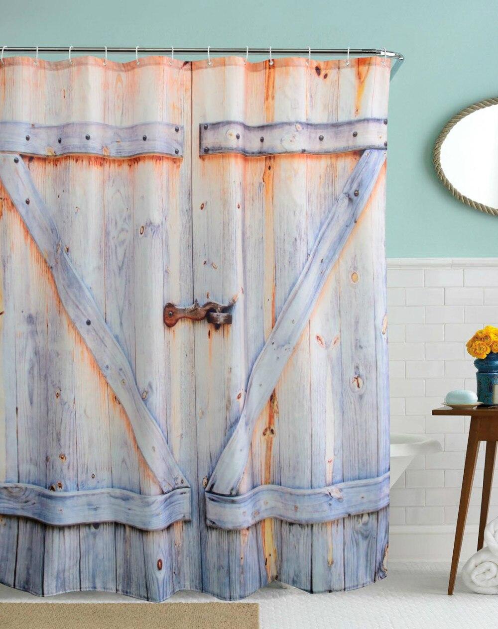 caldo tour 3d vintage bagno tende da doccia impermeabile poliestere tende da bagno porta in legno