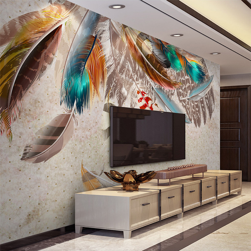 European Style 3D Colorful Feather Mural Wall Paper Modern Creative Art Wall Cloth Living Room TV Sofa Background Wall Coverings