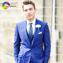 Royal Blue Men Suits for Wedding Custom Made Best Man Blazers Jacket 3Piece Pants Vest Slim Fit Groom Tuxedos Wide Peaked Lapel