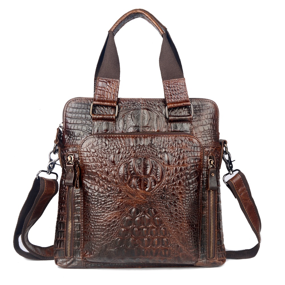 new First Layer Cow Skin Genuine Leather Bag For Men Crocodile Style Men's Business Messenger Bag shoulder handbags european and american style new women genuine leather handbags crocodile grain first layer of cowhide shoulder messenger bags