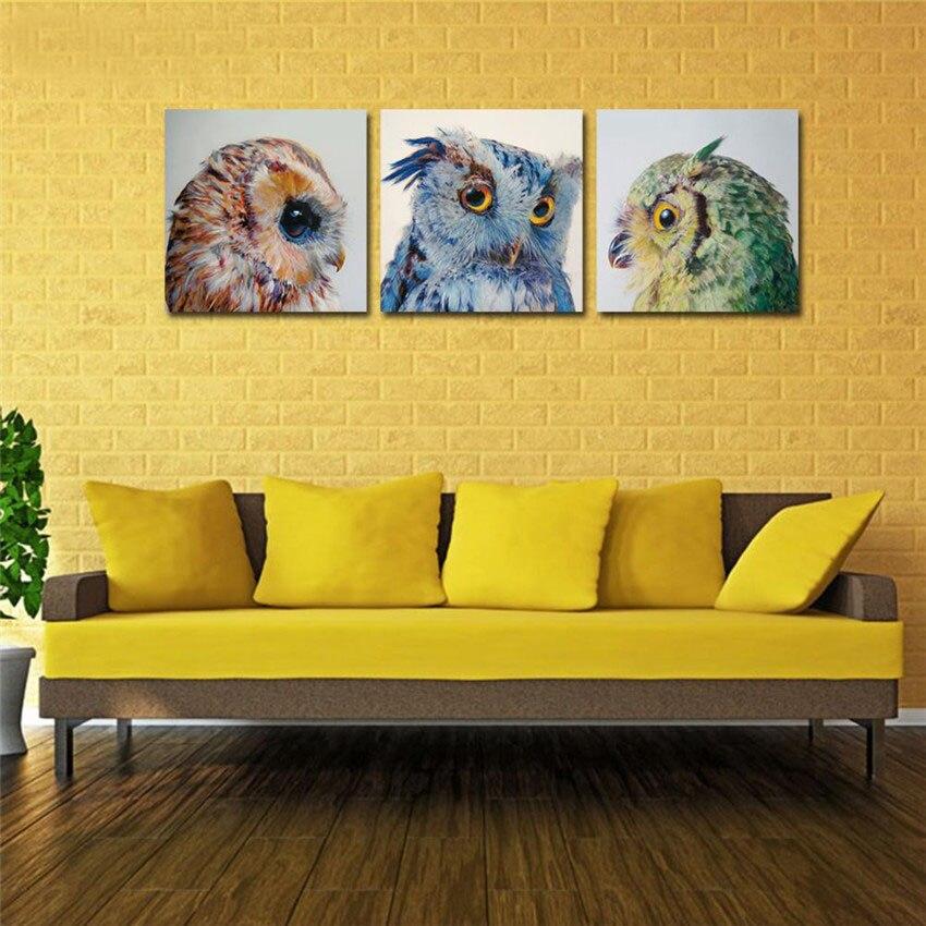 Cute Owl Wall Paintings Modern Bird Printed Canvas
