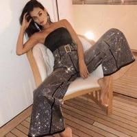 IAMGIA high waist diamond trousers women club streetwear Flare pants pantalones mujer sweat harajuku black loose pants