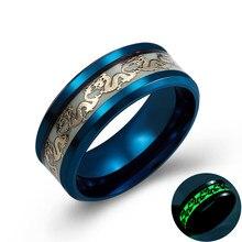Anéis luminosos de dragão para homens, preto, ouro e azul, cor inoxidável, feminino, moderno, brilha no escuro anel de joias,