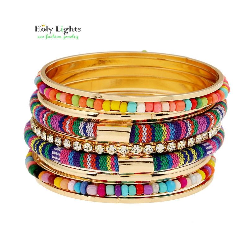 2016 nouvelle multicolore carter amour bracelet  bangles ethnique tirbal bras manchette circels ensemble or plaqué