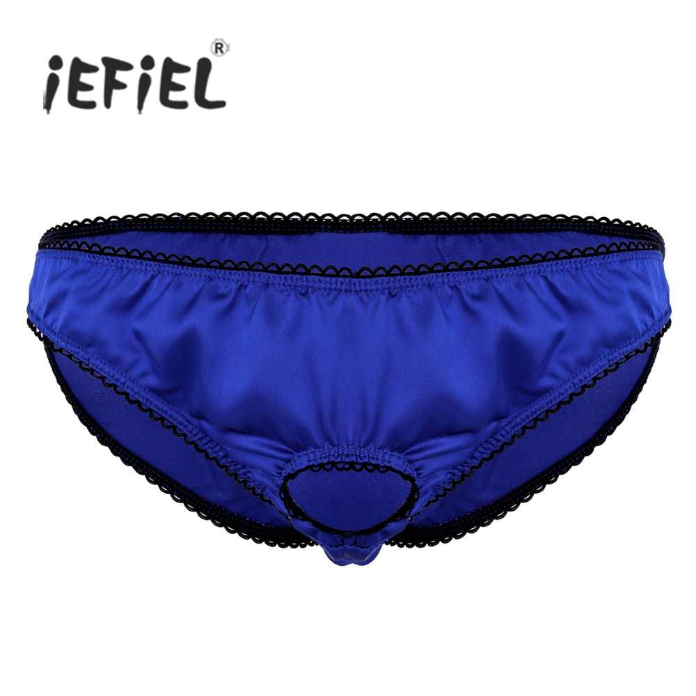 iEFiEL Mens Lingerie Open Penis Ring Soft Satin Low Rise Sissy Bikini Briefs Underwear Underpants String Hommes Gay Sexy Panties