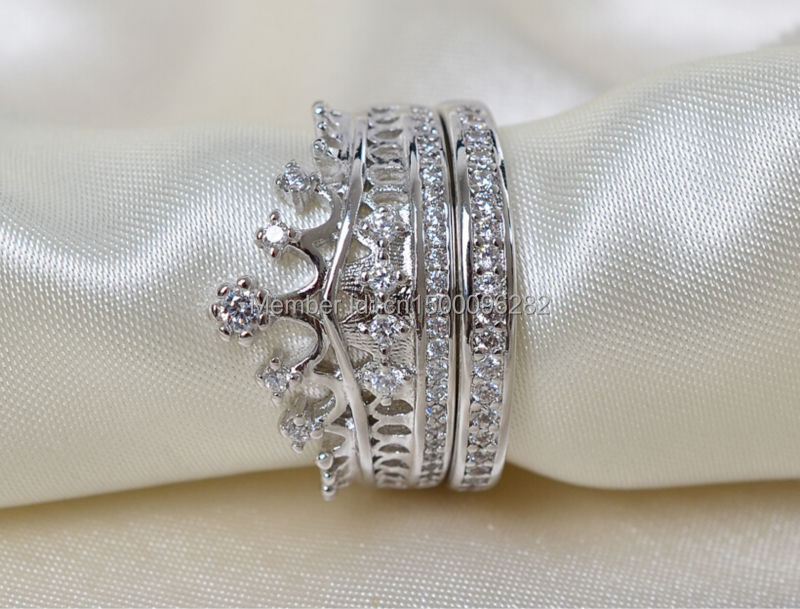 aliexpresscom buy sz 5 10 top 925 sterling silver filled zirconia cz crown princess wedding ring set wedding engagement ring free shipping from reliable - Crown Wedding Rings