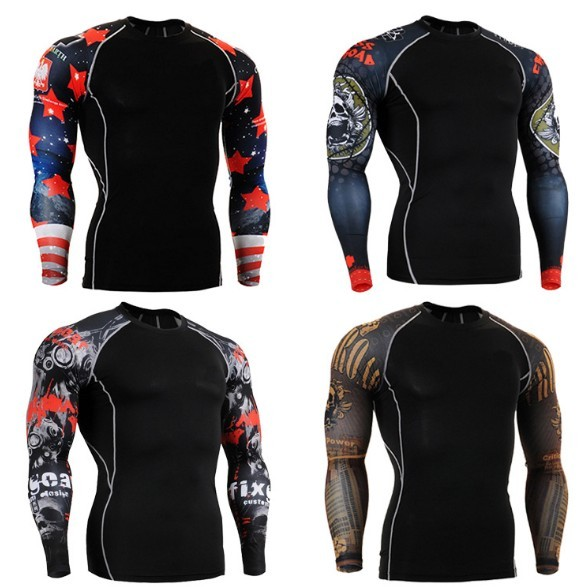 Muscle Men Compression Tight T-shirt Long Sleeves Double Sides Prints MMA Rashguard Fitness Base Layer Weight Lifting Wear