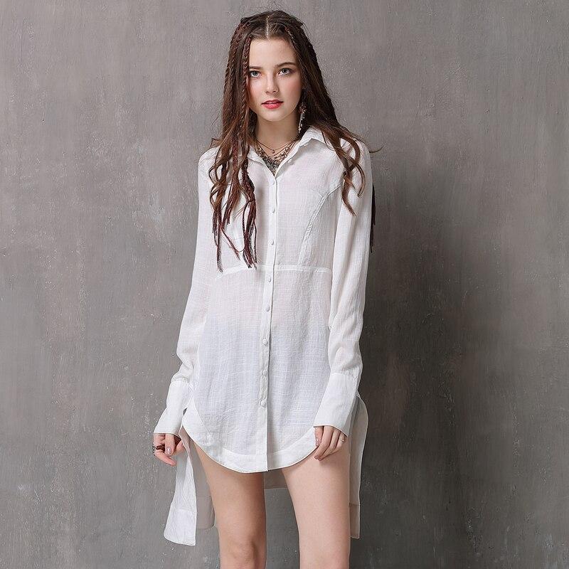 été Shirt À Long Des Mode Col Rabattu Manches coton Blanc Lin Irrégulière Élégant En Femmes La Printemps Et Cardigan Chemise Vintage gbfy7Y6