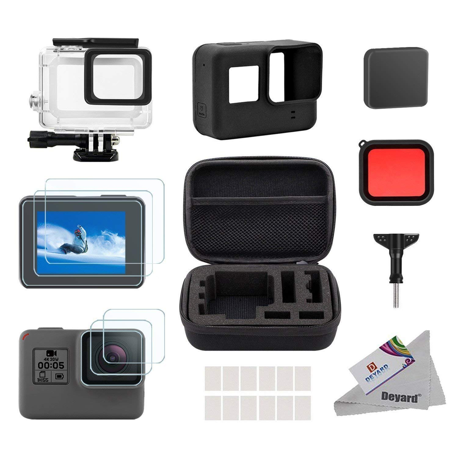 25 in 1 Accessory Kit for GoPro Hero (2018) GoPro Hero 6 Hero 5 with Shockproof Small Case Bundle&Silicone Rubber Lens Cap high precision cnc aluminum alloy lens strap ring for gopro hero 3 red