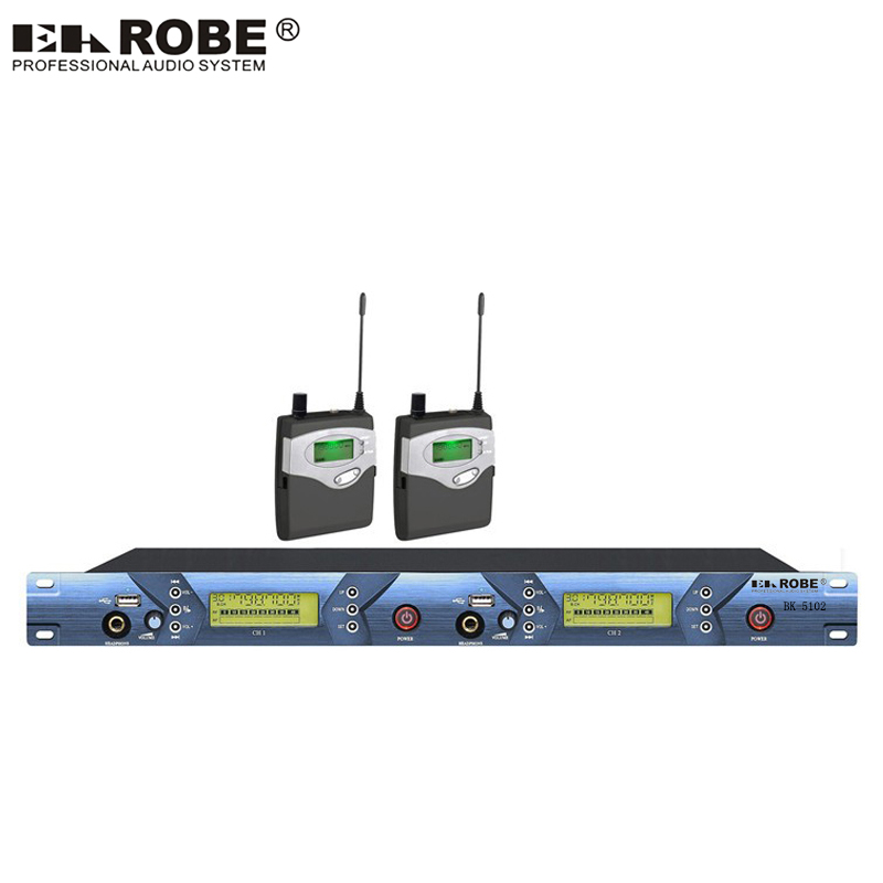 Double Channel In Ear Monitor Wireless System Twin Transmitter Monitoring Professional For Stage Performance With USB