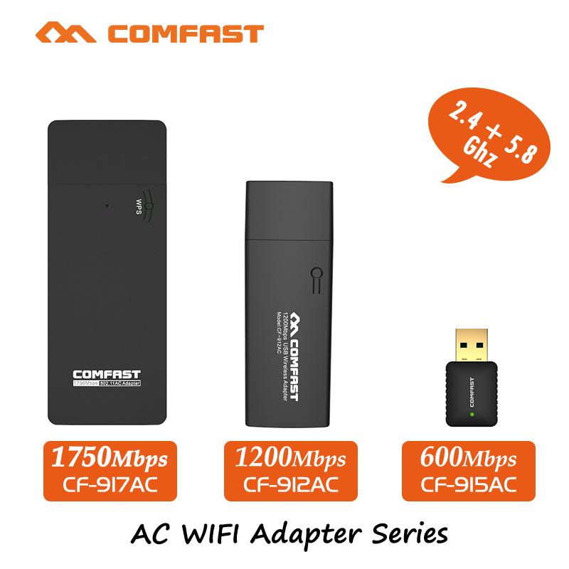 COMFAST usb wifi adapter 600mbps ~ 1750 mbps 802.11ac/b/g/n 2.4 Ghz + 5.8 Ghz Dual Band wi-fi dongle Scheda di Rete del computer CA Series