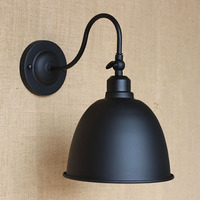 Contracted style vintage LOFT BLACK metal lampshade wall lamp for workroom Bathroom bedroom foyer balcony Vanity Lights E27
